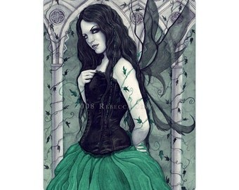 The Secret Temple ACEO Print Artist Trading Cards ATC Gothic Fairy Fantasy Art Green Corset Ivy