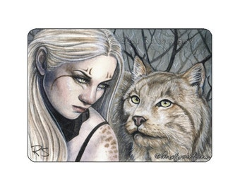 Feral Limited Edition ACEO Print Artist Trading Cards ATC Lynx wild cat animal shaman winter Fantasy Art Portrait