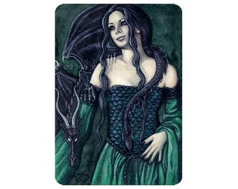 Shadow Dragon Limited Edition ACEO Print Artist Trading Cards ATC Fantasy Art Green Gothic Medieval