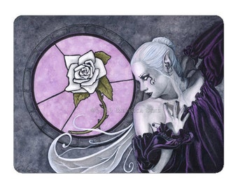 The White Rose ACEO print Artist Trading Cards ATC Fantasy Art Gothic Fairy Stained Glass Window Purple Portrait