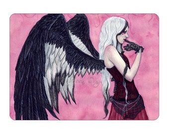 Thinking Of You ACEO Print Artist Trading Cards ATC Valentine's Day Gothic Angel Corset Pink Portrait Fantasy Art