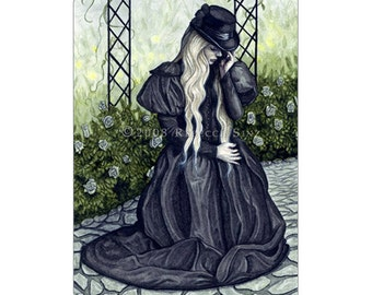 Mourning Garden ACEO Print Artist Trading Cards ATC Fantasy Art Victorian Garden Sad