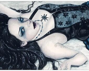 Winter ACEO print Snow Gothic Fairy Fantasy Art Artist Trading Cards ATC Fantasy Art -- Seasons Series