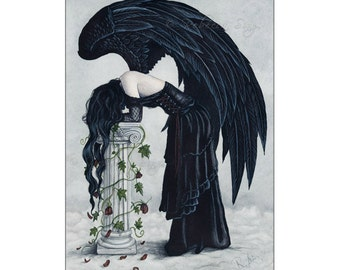 Despair ACEO print Angel Gothic Sad Black Wings depression emotion Watercolor Artist Trading Cards ATC