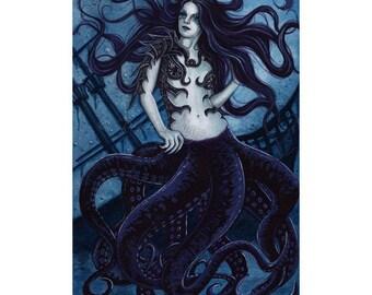 Cecaelia ACEO print Gothic Sea Creature Tentacles Hybrid Artist Trading Cards ATC Fantasy Art Octopus
