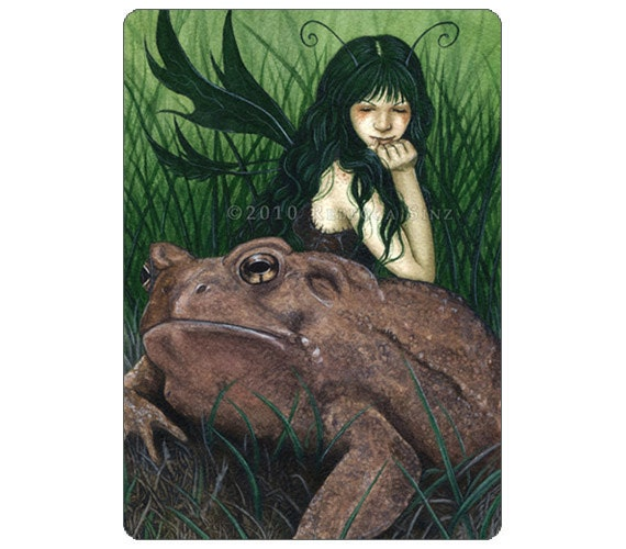 Fairy Friend ACEO Print Artist Trading Cards ATC Toad Fae Green Grass Wings Fantasy Art Painting