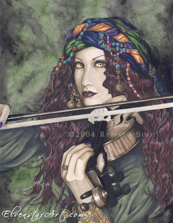 Enchanted Melodies Violin 8.5 x 11 Print Gypsy Fantasy Art