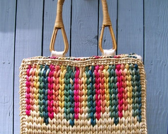 80s straw tote bag lined bamboo handles large