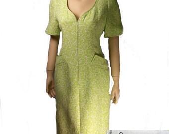 vintage dress Paris ready to wear Claude Bouzoy matelasse tailored dress med