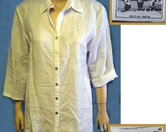 White Irish Linen blouse with embroidery size large  80s deadstock