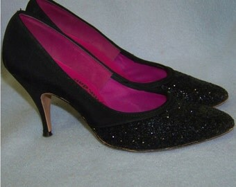 Vintage 1950s  heels  stiletto black glitter  Adorably yours 6.5 AA