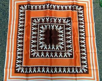 "70s french crackerjack sailor scarf acetate orange 25"" square"
