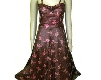 80s 40s retro sundress brown nylon over pink with bows so cute XS