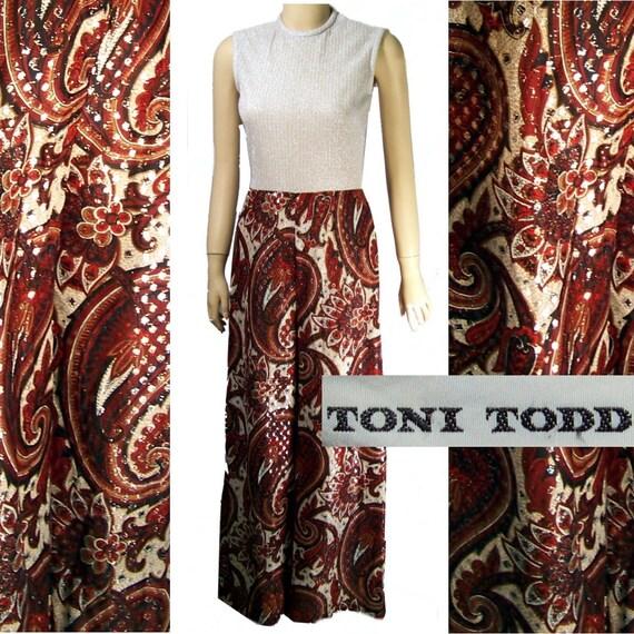 Metallic Catsuit  Toni Todd vintage 60s silver paisley small
