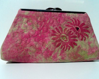 Clutch-sage green, embellished with pink flowers,