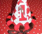Sock Monkey Birthday Hat in argyle