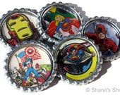 From Comic Book Pages - Bottle Cap Magnet Set at Shana's Shop on Etsy