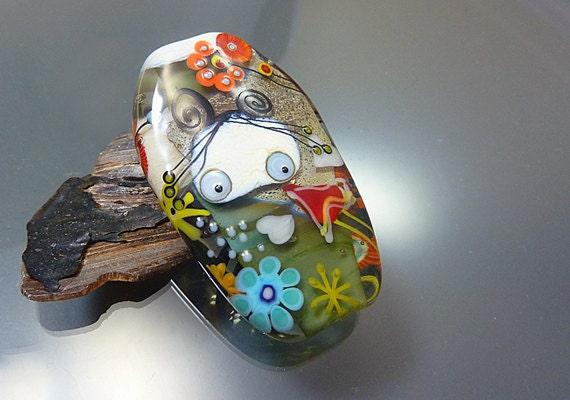 "Melanie Moertel Lampwork Beads - Green fairy focal glass bead silver pendant - ""Mystic forest"""