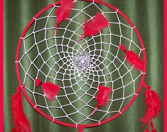Valentine Dream Catcher February 7, 2012 With Red Leather, Red Feathers and Vintage Heart Charm