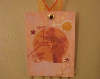 Wakahirume, Japanese Goddess of the Rising Sun and Weaving, Altered Art Card ACEO