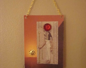 Sekhmet, Egyptian Goddess of Sunset and the Birthing Chamber, Altered Art Card ACEO