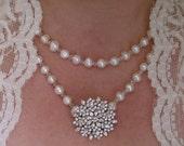 SABRINA - Swarovski Crystal Fresh Water Pearl, Brooch, Handmade  Bridal Necklace, Limited Edition