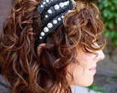 Beaded Headband Cooper, Black, White Beads Pearl Accent Statement Piece on Etsy by Bethany Lorelle
