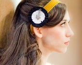 Black and White Flower with Rhinestone Rose Hair Clip with Vibrant Velvet Headband Custom Colors Available