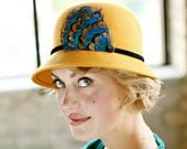Mustard Womens Cloche Hat With Peacock Blue Feather Accent
