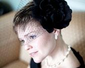 Black Silk Organza Flower-Hair Flower -Pin Brooch- Or Headband - Perfect for Black Tie -THE ALBA