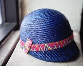 Blue Cloche Riding Hat Perfect for Spring and Summer with Vibrant Multicolored Ribbon accent