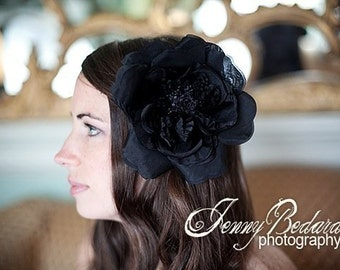 Black Silk Organza Flower-Hair Flower -Pin Brooch- Or Headband - Perfect for Black Tie -THE ALBA