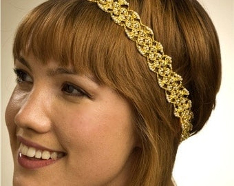 New Golden Lace and  Pearl Headband by bethany lorelle on ETSY