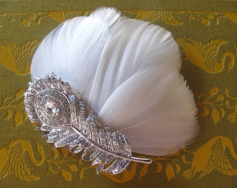 Peacock Wedding Hair Accessories - vintage wedding - crystal hair piece  - silver - Bridal Hair Clip