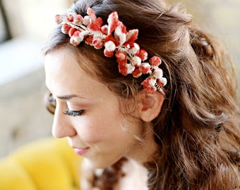 "Berry and Velvet Leaf Floral Headband - The ""MANON""  by Bethany Lorelle -Vintage Style"