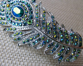 Peacock Wedding Hair Accessory, Rhinestone Peacock Feather Clip, Teal Blue Hair Pin, Prom Hairpiece, Bridal Hair Jewelry, Bridesmaid Gift