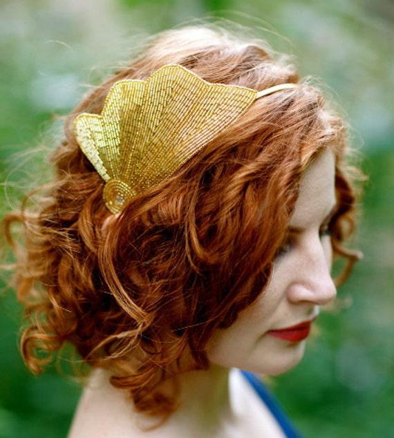 Beaded Shell Headband - Art Deco Gold Sea Shell Beaded Headband - The CARA