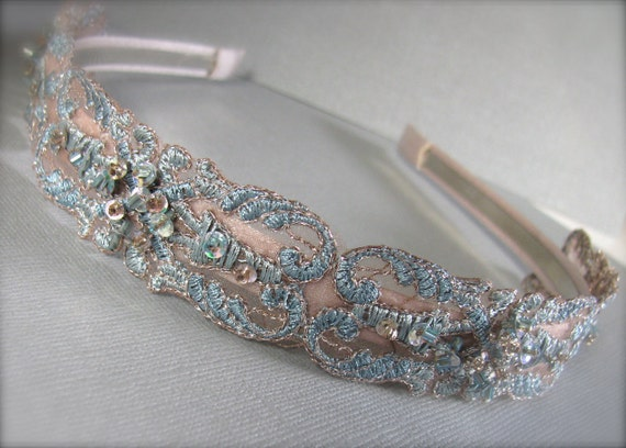 Brocade Lace Headband - French Blue   Limited Edition - The BIANCA