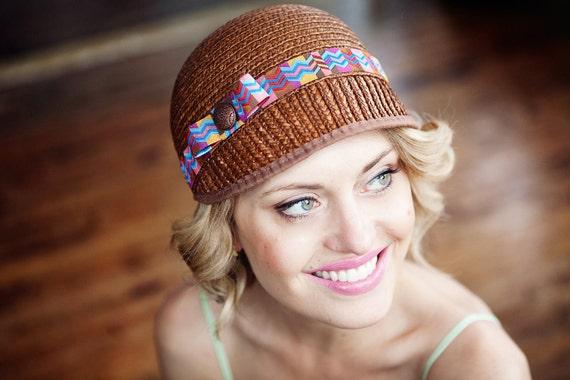 Womens Cloche Riding Hat Chevron Ribbon Accent