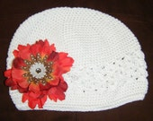 White beanie w\/ Orange Flower w\/ FREE SHIPPING