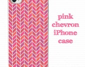 iPhone case, iPhone cover, pink chevron