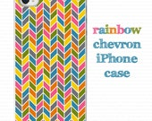 iPhone case, iPhone cover, rainbow chevron iPhone 4 or 4s case