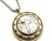 Steampunk Mens Brass Cog Necklace