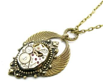 Steampunk Brass Arcane Angel Necklace