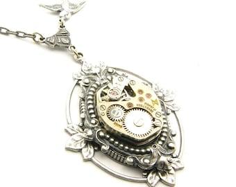 Steampunk Silver Ornate Floating Leaf Necklace