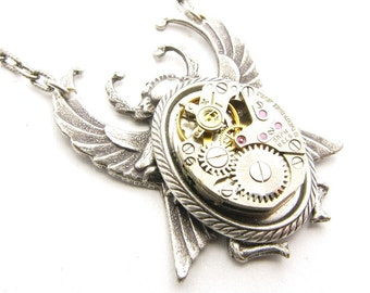 Steampunk Silver Winged Beetle Mechanical Necklace