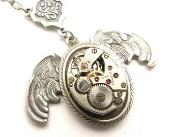 Steampunk Silver Wings of Time Necklace