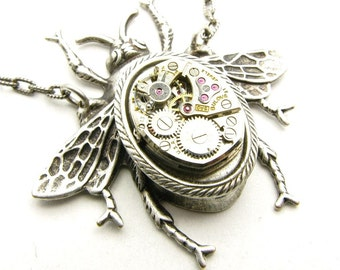 Steampunk Silver Mechanical Bee Necklace