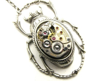 Steampunk Silver Mechanical Scarab Beetle Necklace