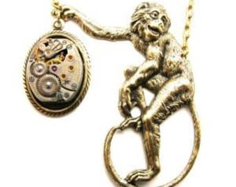 Steampunk Brass Victorian Monkey Clockwork Necklace
